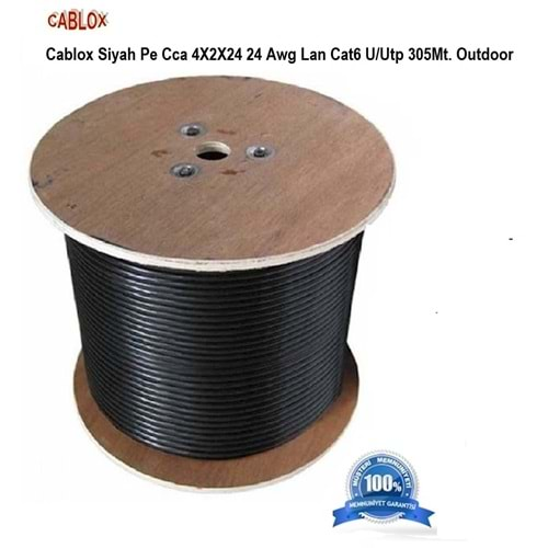 CABLOX SİYAH PE CCA 4X2X23 23 AWG LAN CAT6 U/UTP 305M OUTDOOR 0,57 mm